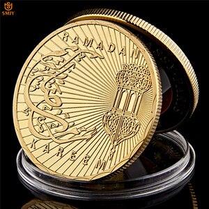 Image 2 - Ramadan kareem octogonal árabe saudita islâmico ouro chapeado réplica colecionável moeda e presente de férias