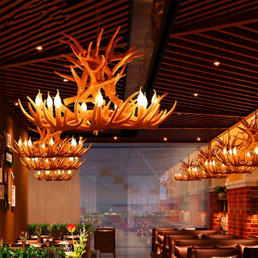 Nordic свечи Antler светодиодный люстры американский подвесной светильник смолы Лофт светодиодный подвесные светильники домашняя отделка кухни светильники