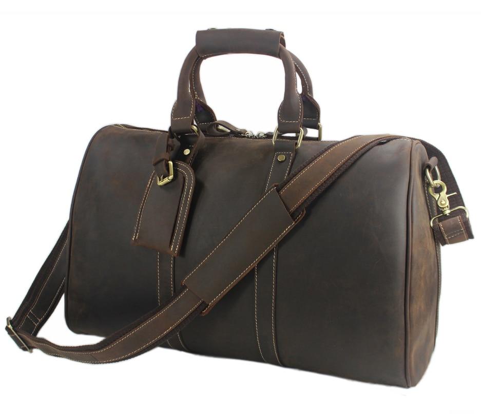 Bag Overnight Leather Travel Men Gym Duffel Vintage Weekend Genuine S Luggage
