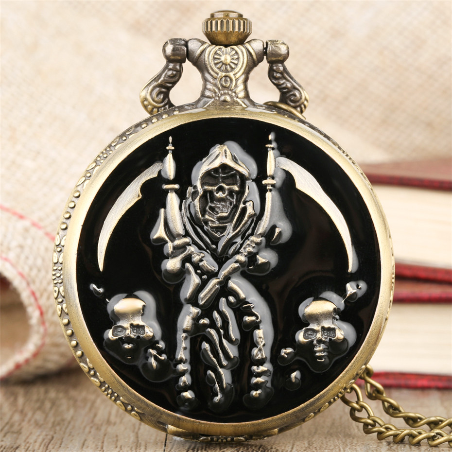 Steampunk Pocket Watch Pirate Skull Display Cover Necklace Pendant Clock Cool Fob Watch Gifts For Men Women Reloj De Bolsillo