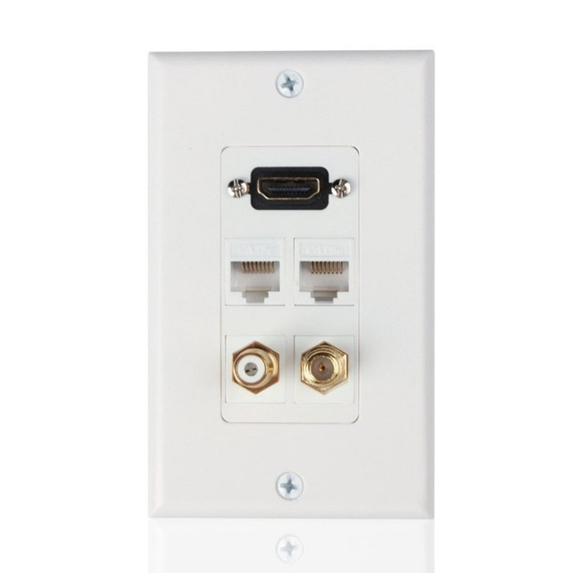 Marvelous Hdmi Ethernet Network Rj45Rca Coaxial F Connector Multi Combo Wall Wiring Cloud Nuvitbieswglorg