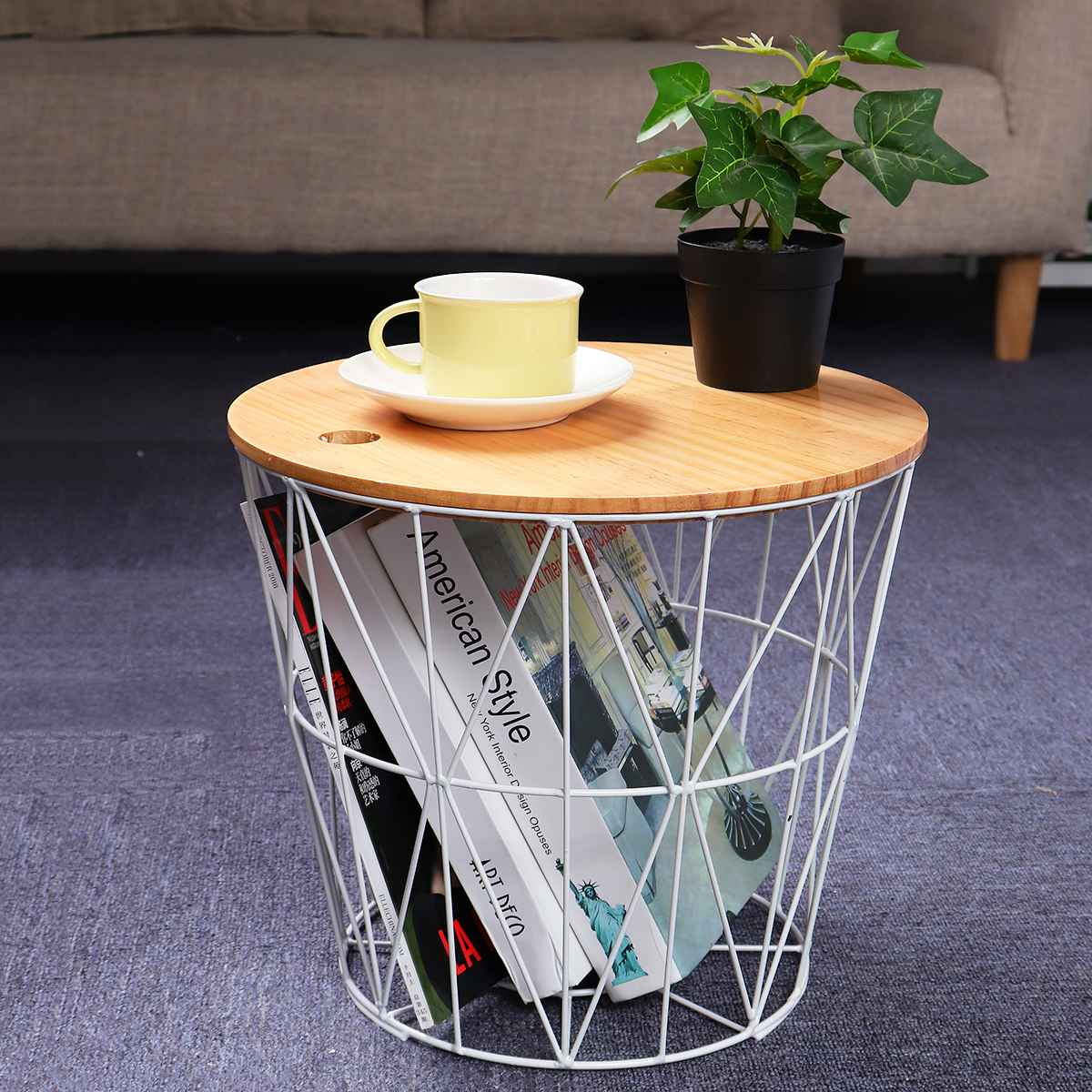 35x30cm White Metal Wire Basket Wooden Top Side Table