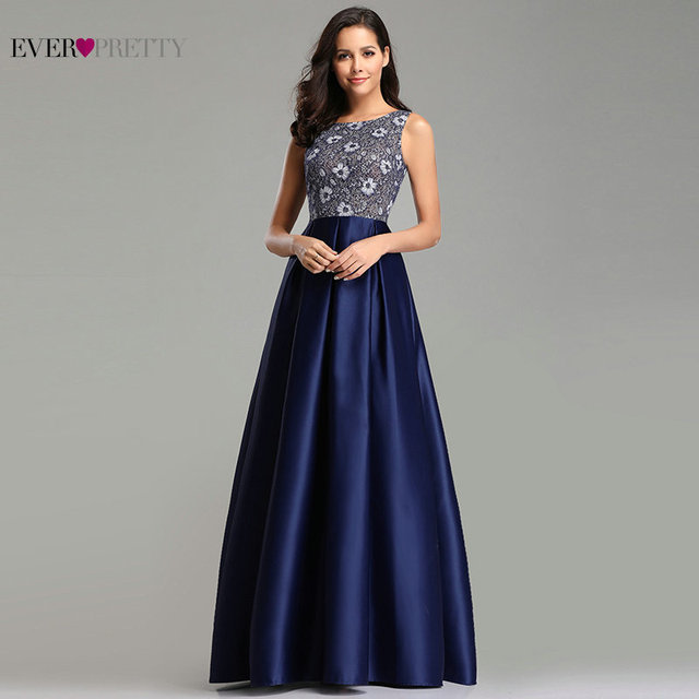 Ever Pretty Prom Dresses 2019 Elegant Navy Blue A Line O Neck Appliques Lace Formal Party Gowns Sexy Robe De Bal Gala Jurken 5