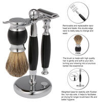 Male Luxury Grooming Shaving Set High grade Safety Razor Shaving Brush with Stand Facial Cleaning Set Best Gifts for Men
