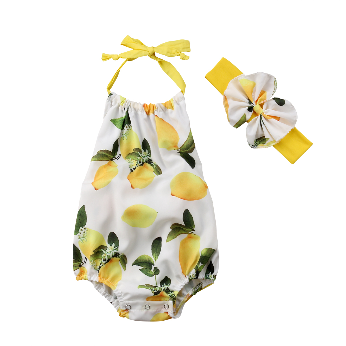 Lovely Newborn Kids Baby Girls Clothes Lemon Print   Romper   Sleeveless Backless Jumpsuit 2PCS Outfit Bow Tie Sunsuit Set