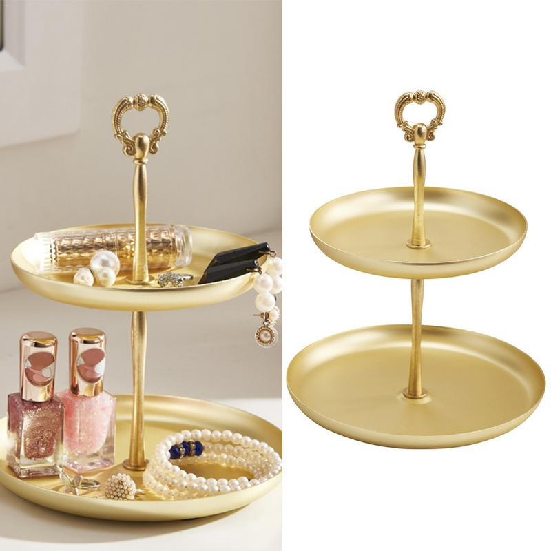 Cake Candle Jewelry Holder Dipamkar/® 20cm Polished Gold Round Serving Tray Decorative Mirrored Tray