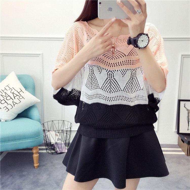 2019 New Women Fashion Short Sleeve Striped Pullovers Sweaters Summer Casual Hollow Out Loose Thin Sweater
