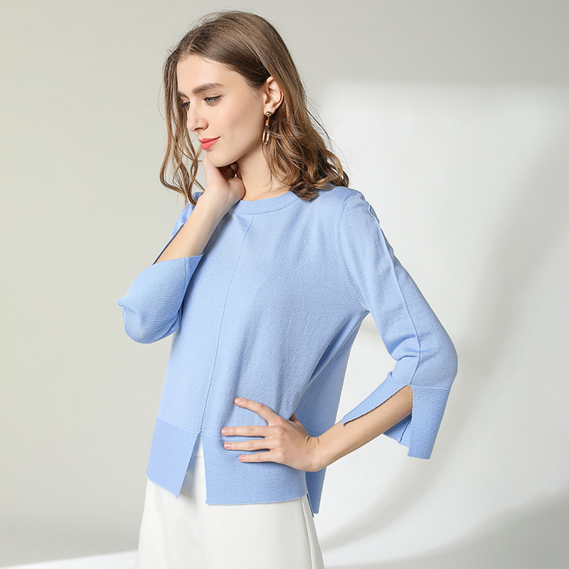 Knitted shirt woman 2019 fashion loose Pullover 50%wool blended High Quality Rendering All-match sweater women spring 1910