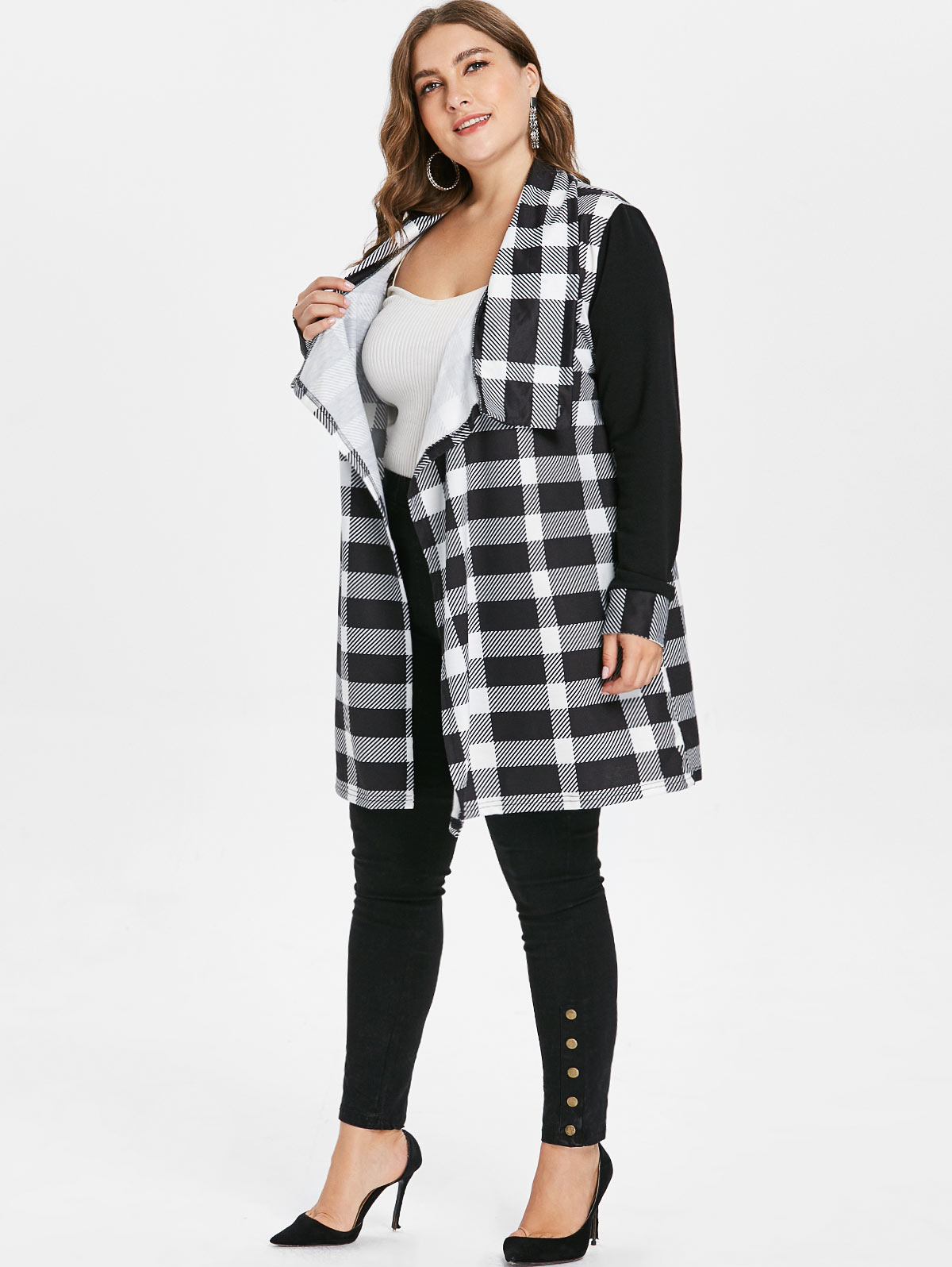 Plus Size Tartan Overlap Long Coat Winter Women Jacket