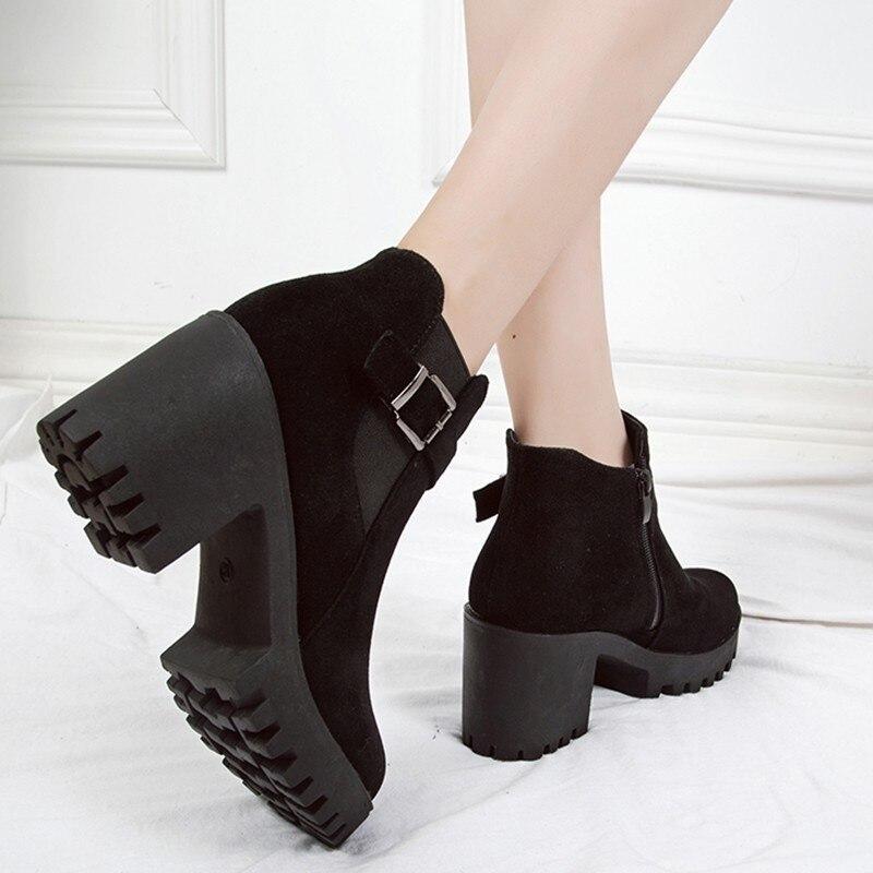 Mujeres Hebilla Black Calzado Tobillo Nueva Otoño Gruesos Zapatos Plataforma Botas Invierno Negro Cuñas De Mujer gray Las Tacones aZ6tq