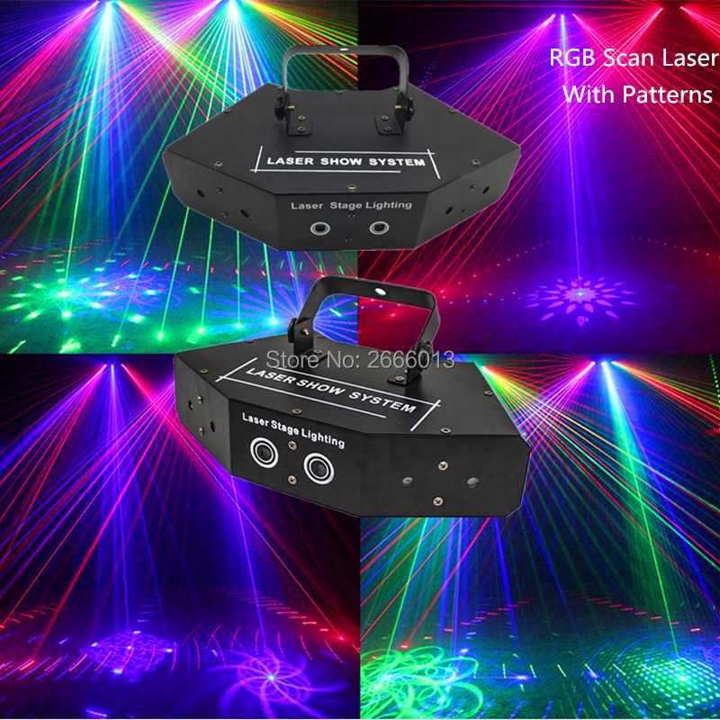 6 Lens RGB Multi Color Scan Laser With Patterns Beam Pattern Scanner DJ Disco Party Stage