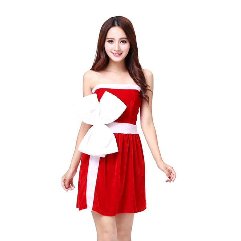 Fashion Christmas Dresses Women Clothes Sexy Santa Claus Halloween Cosplay Red Velvet Half Sleeve One Piece Hat Dress