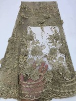 3D lace fabric 2019 high quality Applique African lace with stones embroidered lace trim Nigerian french tulle mesh lace fabrics