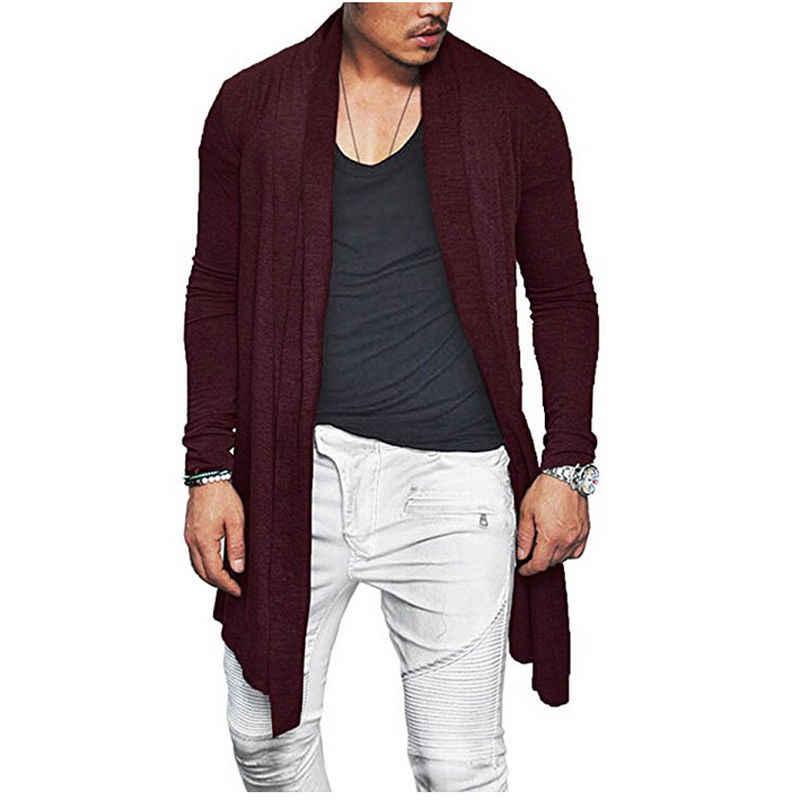 가을 2018 세련된 남성 니트 카디건 슬림 피트 플레 티드 긴 소매 캐주얼 스웨터 오버 코트 탑스 M-XXXL