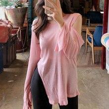 1ca8d2236a Korea południowa wiosna i jesień nowy sexy różowy nieregularne  off-the-shoulder koszulka sukienka