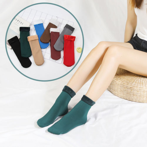 CA Women's Solid Winter Thick Warmer Fleece Lined Thermal Stretchy Socks Elastic