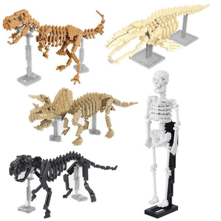 YZ bloques de diamante modelo 3D esqueleto DIY Construcción de ladrillos dinosaurio subasta figura Tigre cuerpo esqueleto Juguetes niño regalo 66508
