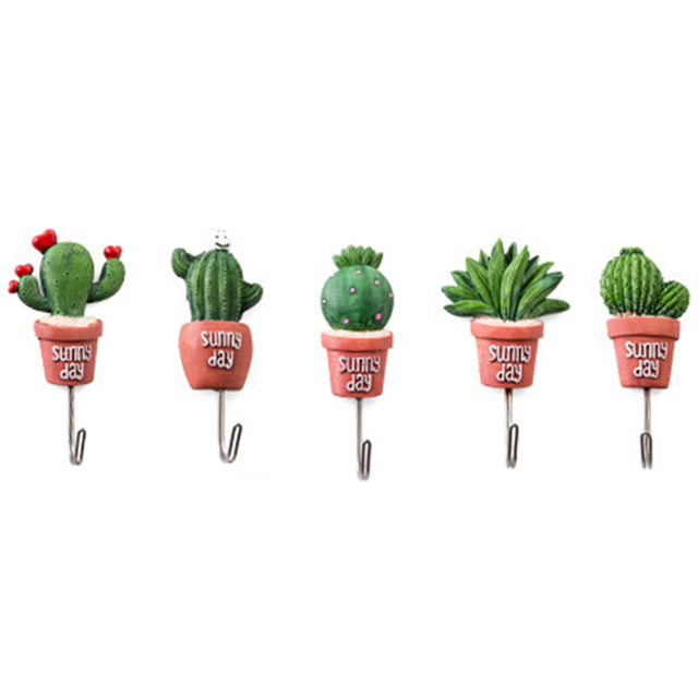 IALJ Top 5Pcs Cactus Plant Pot Wall Housekeeper Hooks For Hanging Door Hanger S Vintage Coat Wall Hooks Towel Key Rack For Kit
