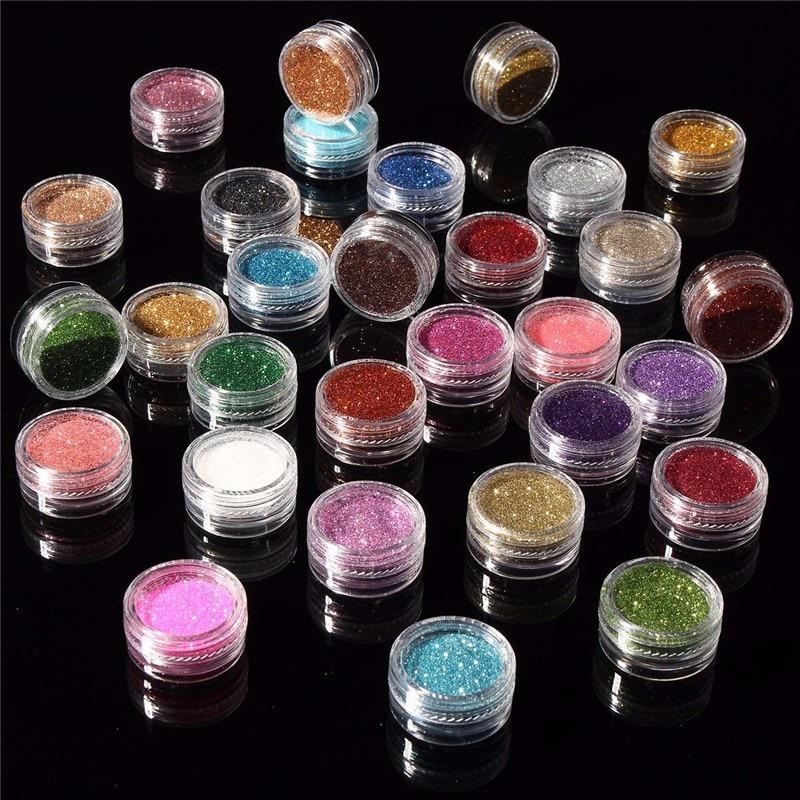 30 шт. разноцветные Пигмент Блеск минеральная блестящие тени для век набор косметики для макияжа Make Up мерцающий блеск Тени 2018
