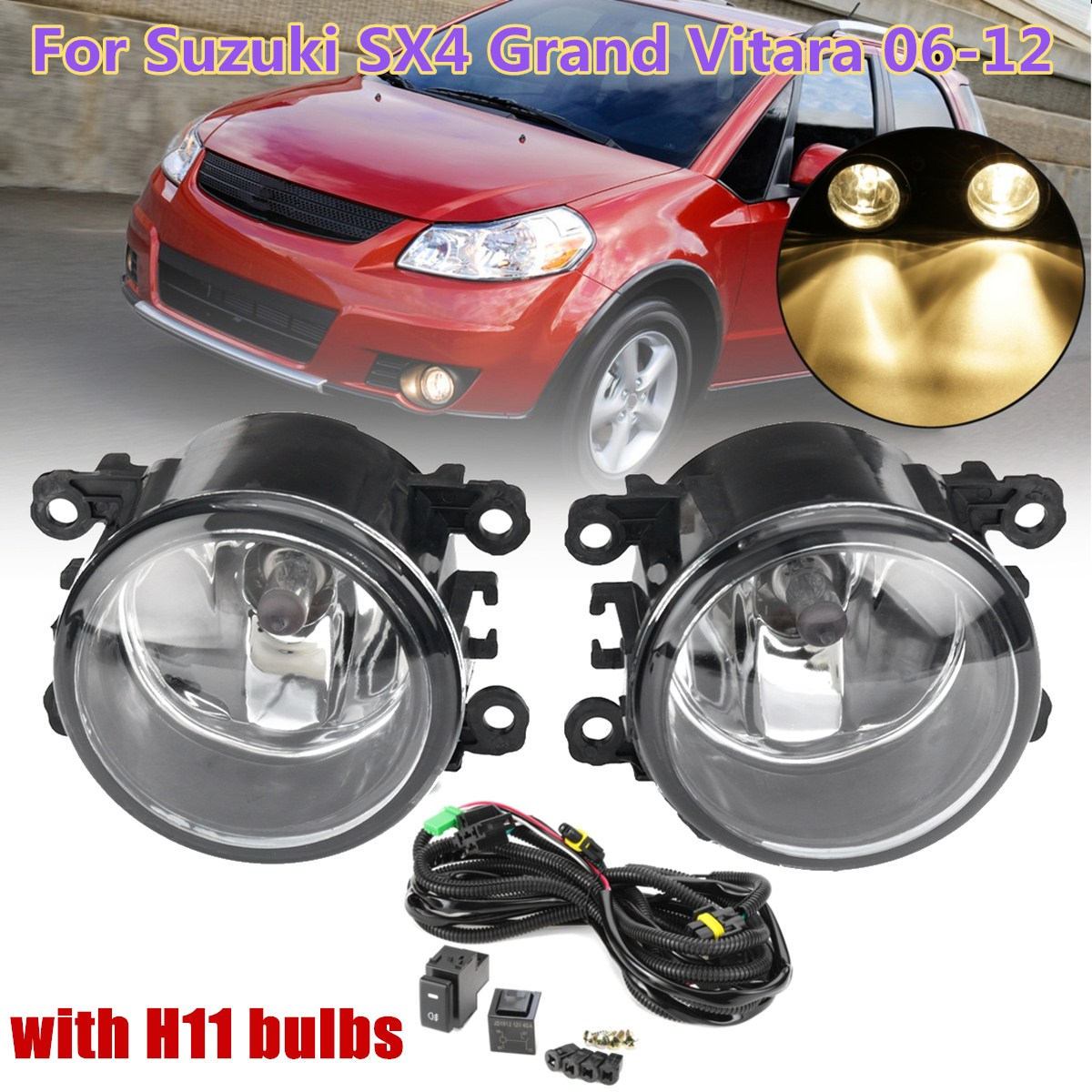 For Nissan 2005 ~ 2008 Tiida Latio Bumper Fog Lights Lamps Complete Kit //1Pair