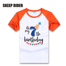 2019 Happy Birthday Children T Shirt For Boys Short Sleeve Toddler Kids Party Clothes 1 2 3 4 5 6 7 Years Old Child