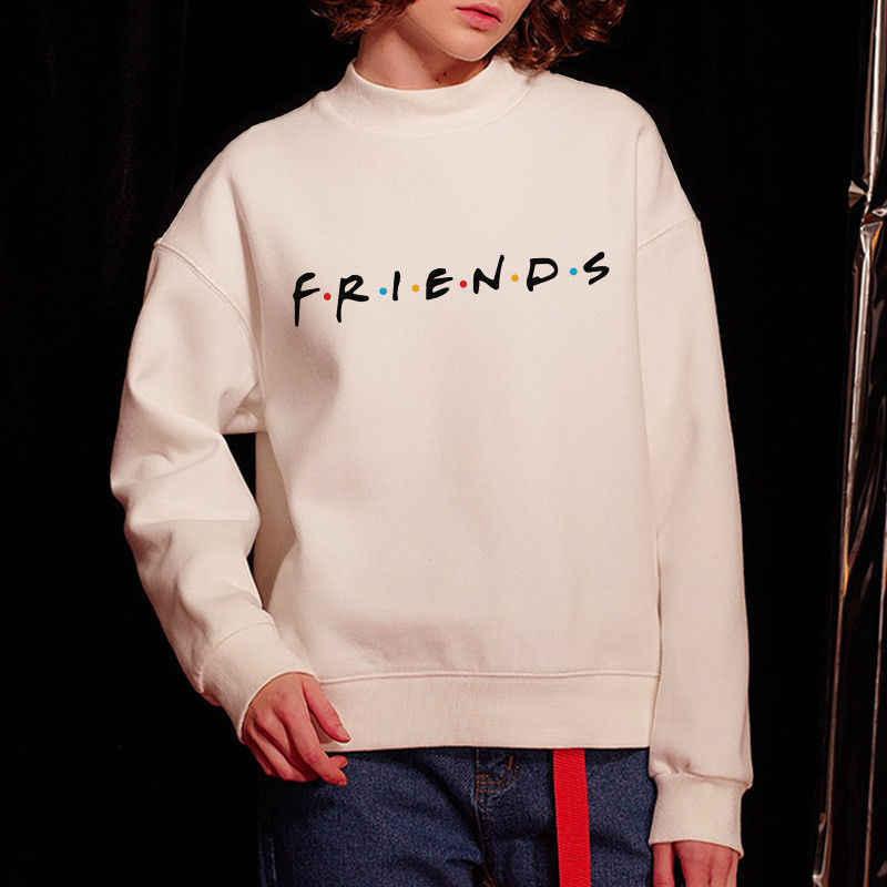 ยี่ห้อใหม่ 2019 ผู้หญิง 5 สีตัวอักษรเพื่อนพิมพ์เสื้อแขนยาวเสื้อ Hoodie สุภาพสตรี Slouch เสื้อกันหนาว Tops S M L XL