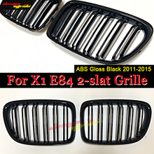 цена на X1 E84 Front Bumper Grille ABS Material Gloss Black Fit For X1 E84 Double Slats Front Bumper Kidney Grille Car styling 2011-2015