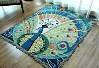 130*170CM Peacock Pure Cotton Multi Purpose Tapestry Blanket Thread Woven Carpet Country Knitting Wall Hanging Tablecloth