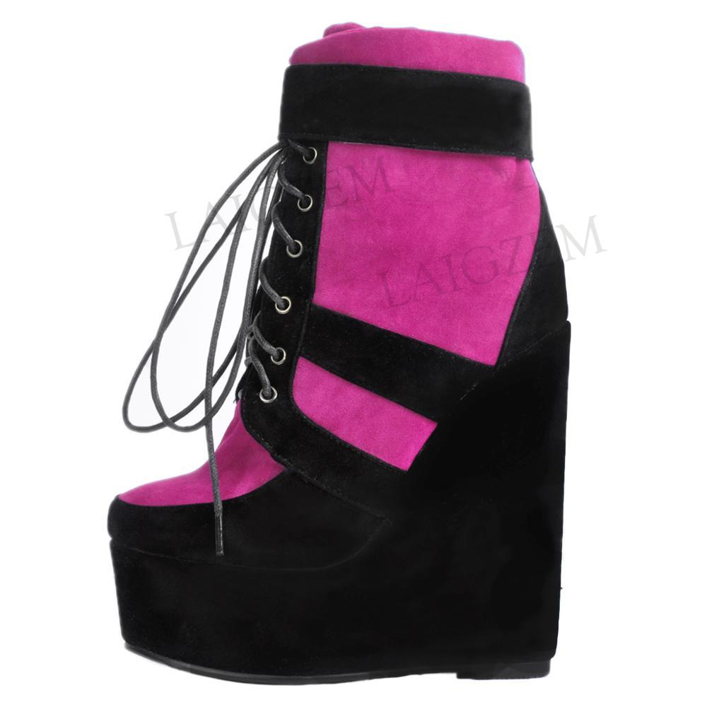 LAIGZEM 2019 العصرية النساء حذاء من الجلد إسفين منصة أحذية سميكة أسفل بوتاس الأنثوية Bottes فام السيدات كبير حجم 34  52-في أحذية الكاحل من أحذية على  مجموعة 1