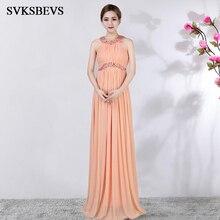 SVKSBEVS Luxury Crystal Halter Draped A Line Long Dresses Elegant Party Off The Shoulder Zipper Backless Maxi Dress