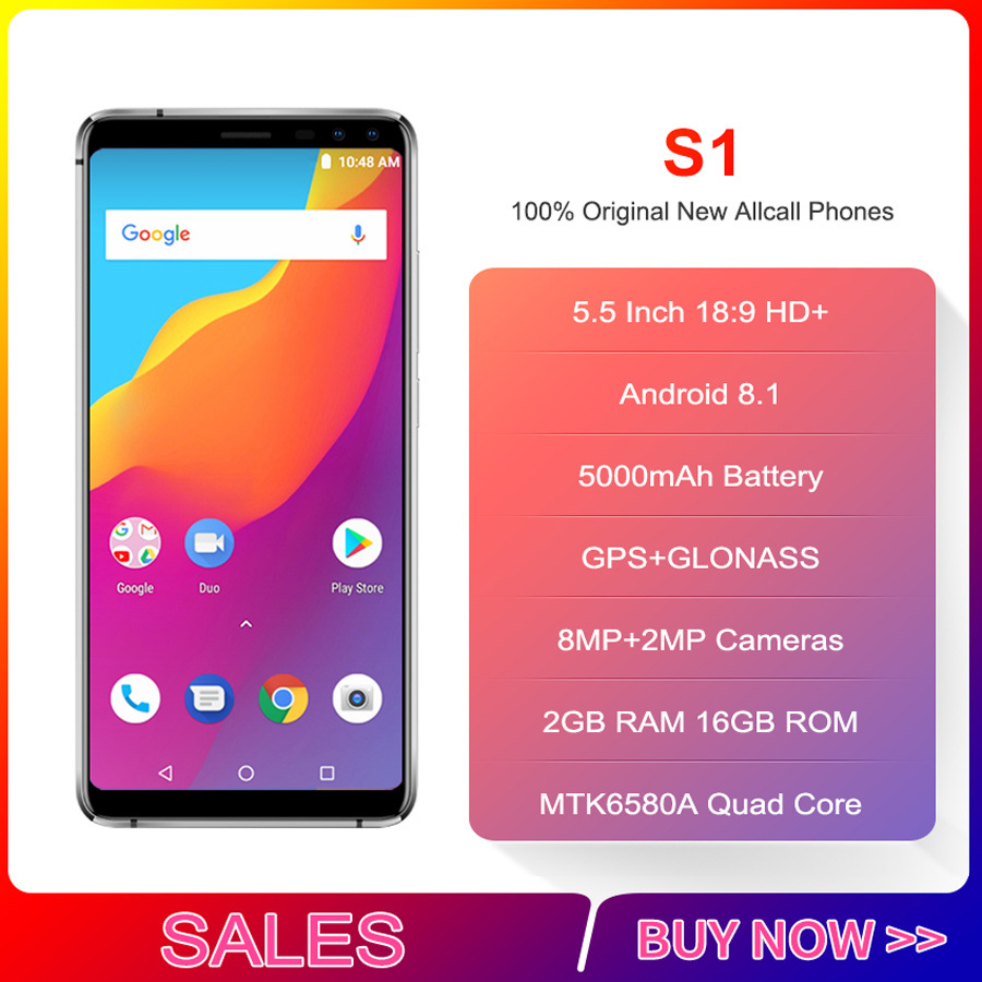 Original Allcall S1 5.5 18:9 5000mah Battery Android 8.1 Mtk6580a Quad Core 2gb Ram 16gb Rom 8mp+2mp Cameras SmartphoneOriginal Allcall S1 5.5 18:9 5000mah Battery Android 8.1 Mtk6580a Quad Core 2gb Ram 16gb Rom 8mp+2mp Cameras Smartphone