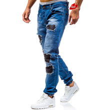 2019 Men Ripped Biker Jeans Slim Straight Hip Hop Frayed Blue Washed Hole Denim Pants New Casual Fashion Skinny Jeans O8R2 women jeans denim 2016 fall spring denim pants fashion washed blue slim hole ripped jeans ladies cotton stretch skinny pants