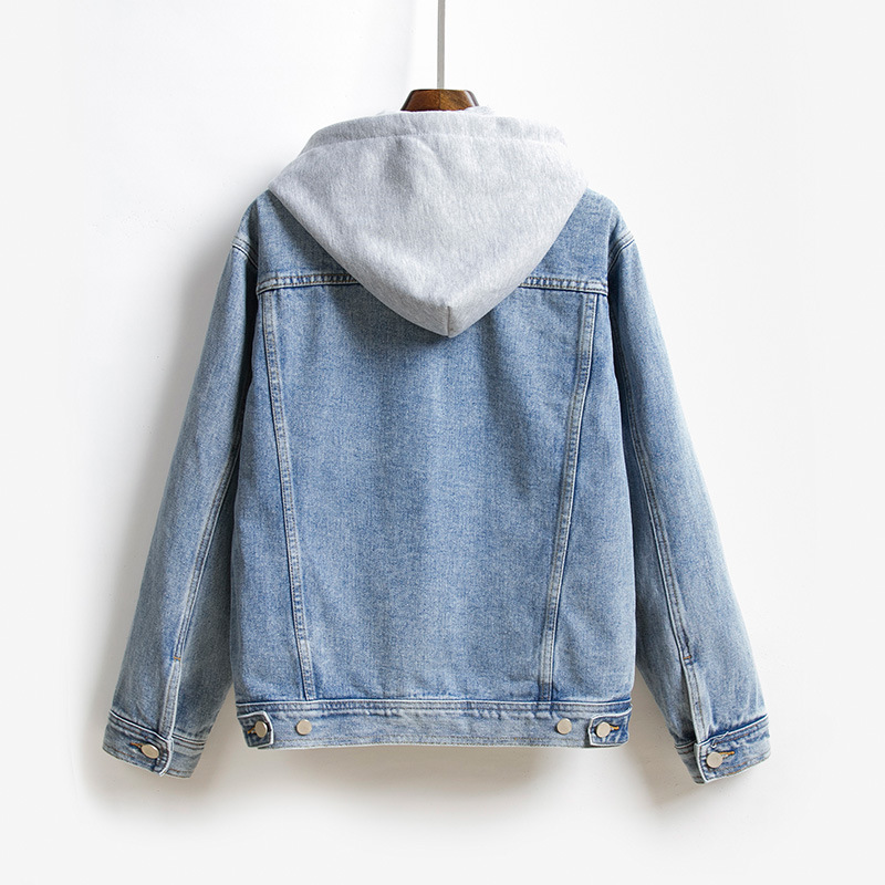 Hooded Jeans Jacket Women Long Sleeve Denim Jackets Casual Loose Single Breasted Pockets Jacket Coat Chaqueta Mujer in Jackets from Women 39 s Clothing