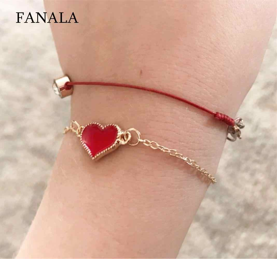 Decoration Lobster Link Chain Bracelet Casual Charm Heart Women White Red Pendant Black Fashion