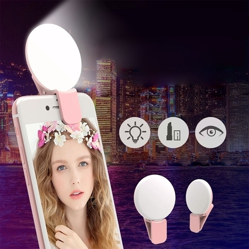 Clip-on Selfie Ring Light For Smartphone IPhone IPad Samsung Galaxy Smartphone Selfie Portable Flash Led Phone Right Light HA