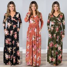 2019 Spring Long Dress Floral Print Boho Beach Dress Tunic Maxi Wrap Dress Women Long Sleeve V-neck Dress цена 2017