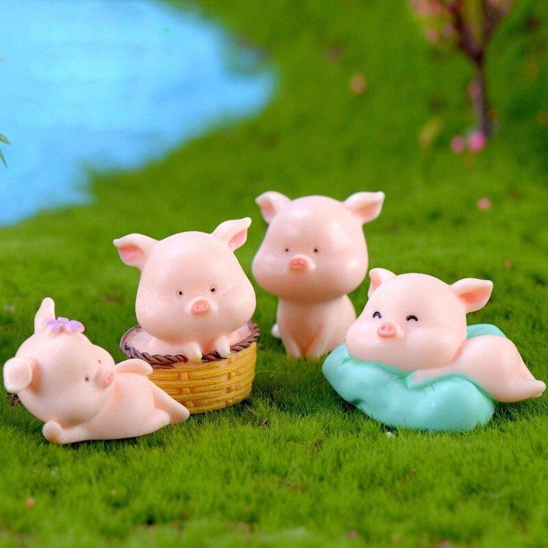 Tiny Ceramic Cute Brown pig FIGURINE Home Garden Decor MINIATURE Gift Souvenir
