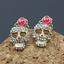 Hyperbole Punk Silver Gold Color Crystal Rhinestone Mask Skeleton Shantou Stud Earrings for Women