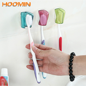 Image 1 - 3 Piece/Set Suction Cup Toothbrush Holder Toothbrush Cover Storage Wall Mount Rack Bathroom Product Home Supplies