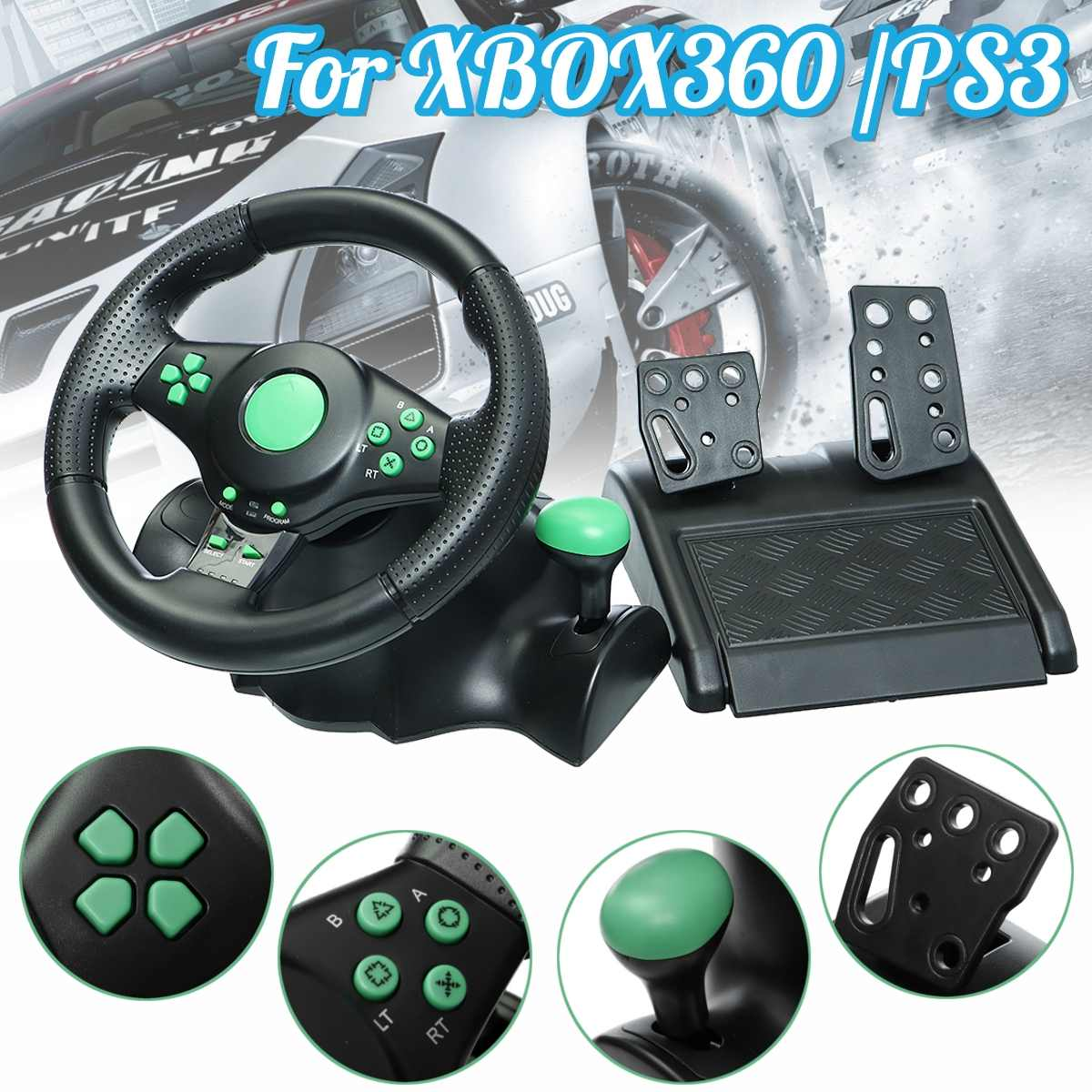Gaming Vibration Racing Steering Wheel and Pedals For XBOX360 / For PS3 / For PS2 / PCGaming Vibration Racing Steering Wheel and Pedals For XBOX360 / For PS3 / For PS2 / PC
