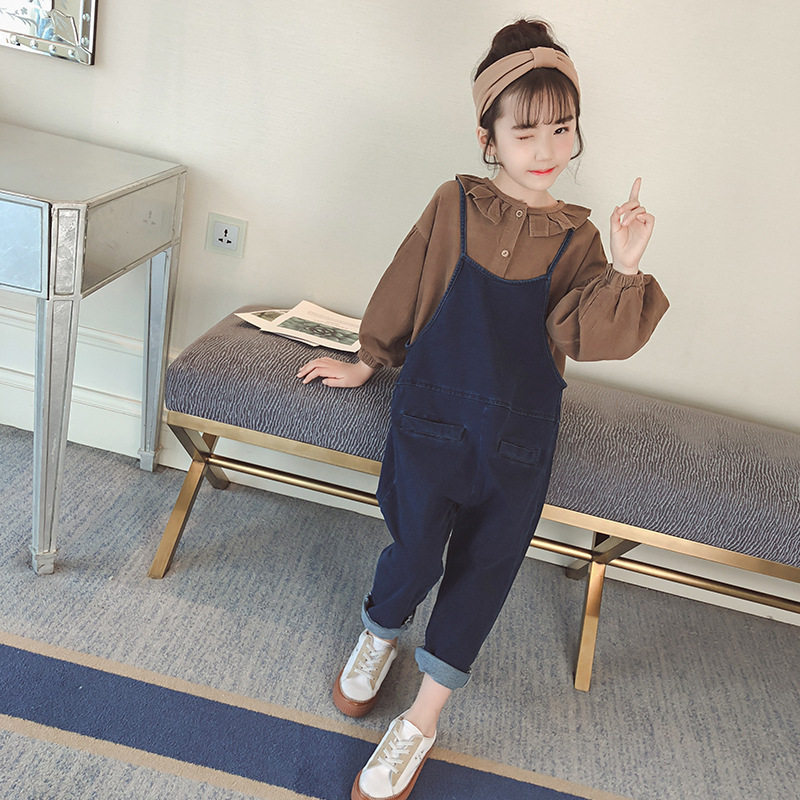 все цены на 18 Autumn Winter Children Pants With Strap girls Suspenders trousers girl's pure color Kids long-sleeved collared jeans fashion