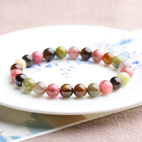 Natural Candy Color Tourmaline Beads Bracelet Natural Crystal Ornaments DIY Hand String Bijoux Femme Luxury Brand Bijou