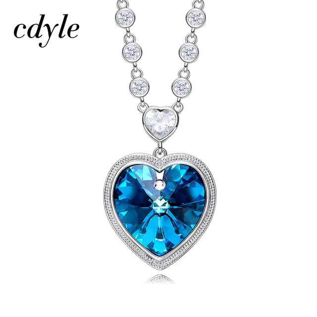 Cdyle Crystals from Swarovski Angel Heart Necklaces Purple/Blue Crystal Heart Pendant Necklace Best Gifts For Women Girl Fashion