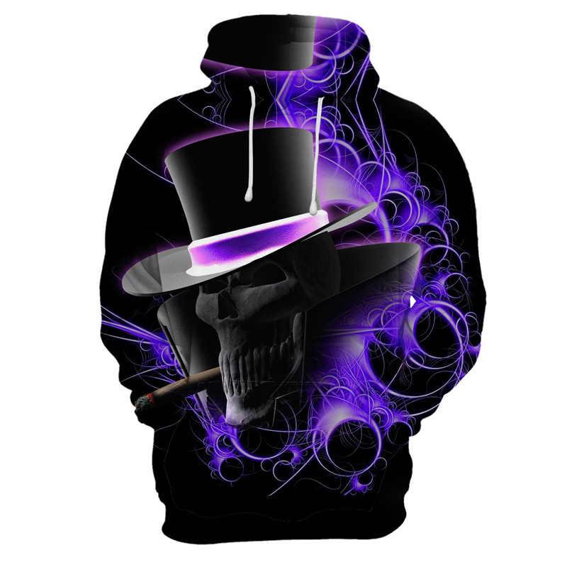 3d hoodies 남성 해골 까마귀 3d 인쇄 된 운동복 후드가 달린 애니메이션 펑크 록 옷 로즈 힙합 남성 의류 streetwear new