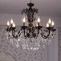 Restaurant vintage schwarz kronleuchter kristall beleuchtung Antiken Küche lampe wohnzimmer hängen licht glanz cristal led lamparas
