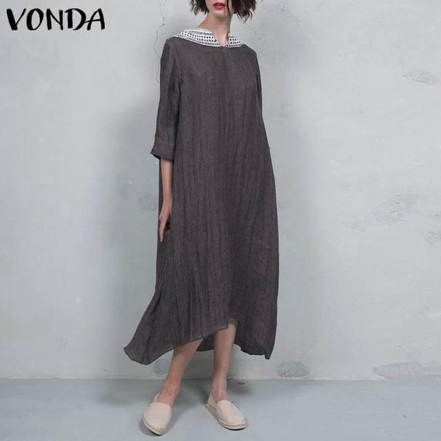 VONDA Women Vintage Cotton Dress 2019 Autumn Sexy V Neck Lace Crochet Backless Party Long Dresses Casual Vestido Plus Size 5XL