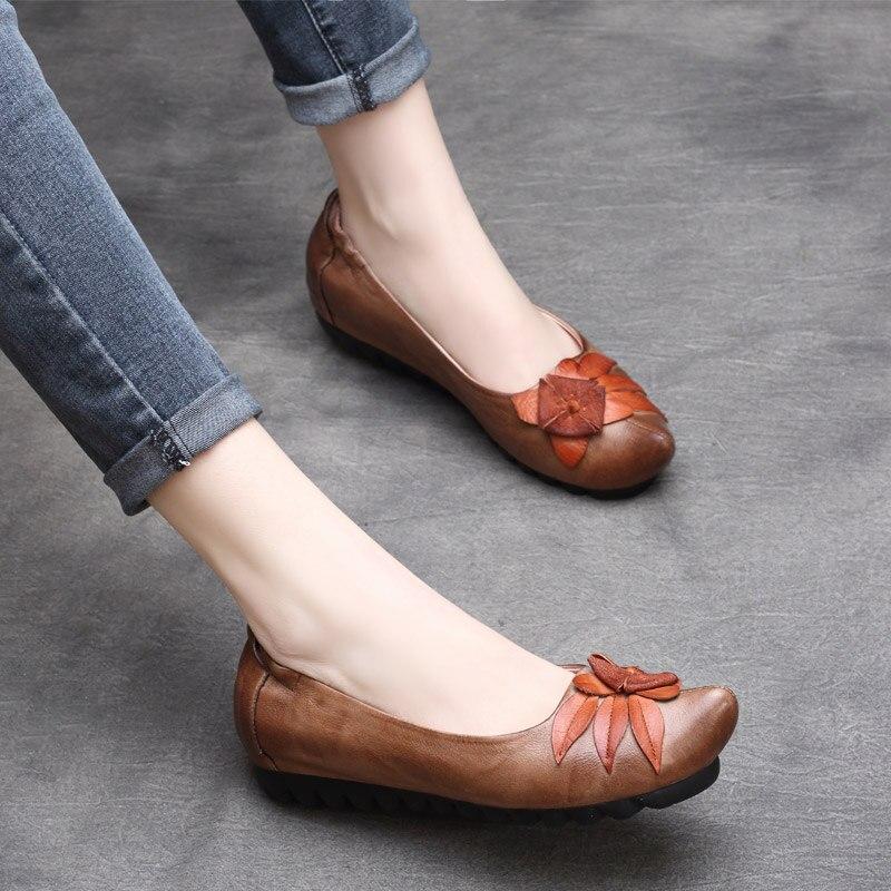 Paresseux Fleur S Mocassins Femme Slipona Ballet En D'été Véritable Brown Espadrilles Cuir Dames De Chaussures Femmes Printemps OPwSxH