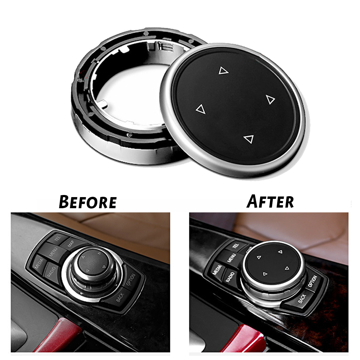 For iDrive Car Multimedia Button Cover Trim Knob <font><b>Sticker</b></font> for BMW F10 <font><b>F20</b></font> F30 3 5 Series for NBT Controller Translucent Button image