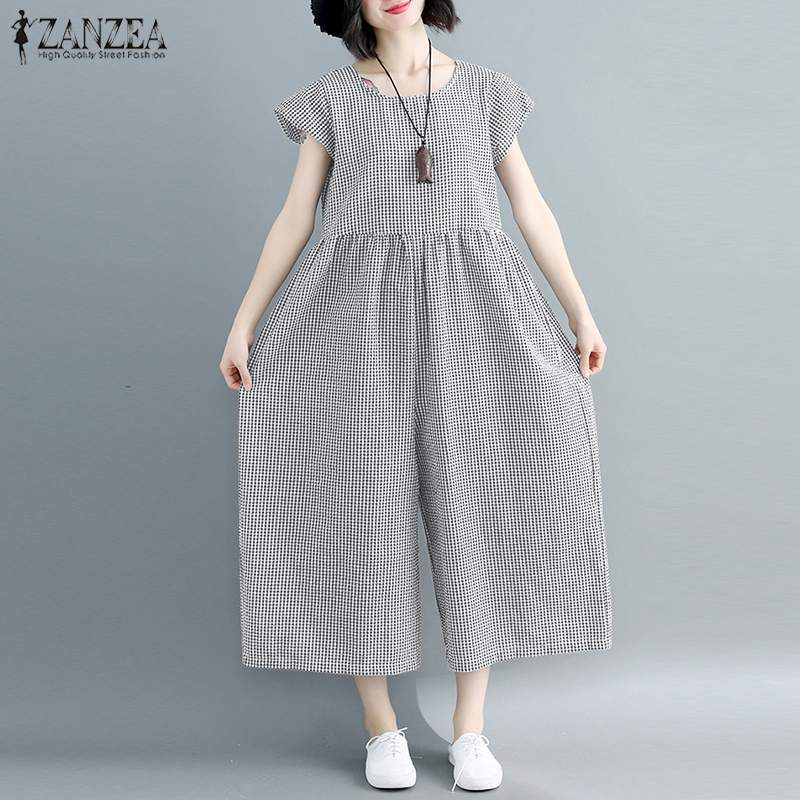 2019 Summer Rompers Women Jumpsuit ZANZEA Plus Size Ladies Plaid Long Playsuits Causal Macacao Feminino Loose Combinaison Femme