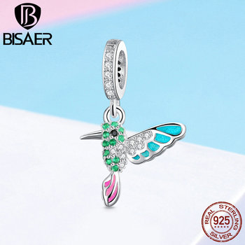 309f0622470d BISAER 925 plata esterlina colibrí pájaro Color CZ dijes Animal Beads fit  pulsera cuentas para ...